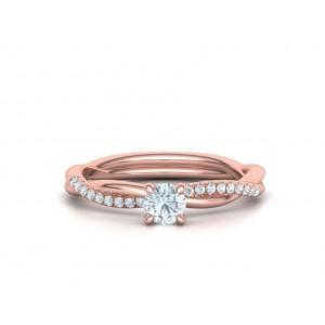 Μονόπετρο δαχτυλίδι άπειρο - πλεξούδα ροζ χρυσός Κ18 με διαμάντι 0.24ct και πέτρες στο πλάι