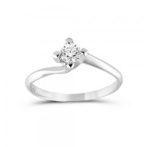 Μονόπετρο δαχτυλίδι φλόγα από λευκόχρυσο Κ18 με διαμάντι μπριγιάν 0.15ct