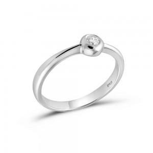 Μονόπετρο δαχτυλίδι από λευκόχρυσο Κ18 με διαμάντι μπριγιάν 0.07ct