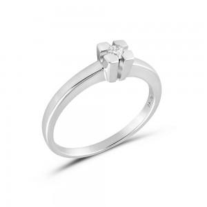 Μονόπετρο δαχτυλίδι από λευκόχρυσο Κ18 με διαμάντι 0.08ct