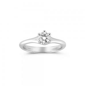Μονόπετρo δαχτυλίδι με 6 δόντια λευκόχρυσο Κ18 και διαμάντι 0.24ct