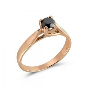 Μονόπετρο δαχτυλίδι από λευκόχρυσο Κ18 με μαύρο διαμάντι 0.34ct