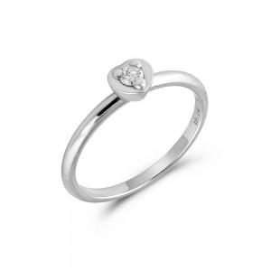Μονόπετρο δαχτυλίδι καρδιά από λευκόχρυσο Κ18 με διαμάντι 0.07ct