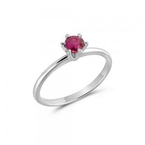 Μονόπετρο δαχτυλίδι από λευκόχρυσο Κ18 με ρουμπίνι 0,43ct