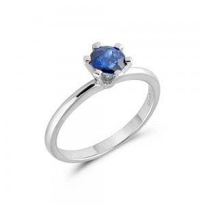 Μονόπετρο δαχτυλίδι από λευκόχρυσο Κ18 με ζαφείρι 0,63ct
