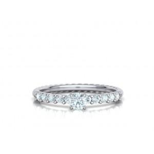 Μονόπετρο δαχτυλίδι στριφτό λευκόχρυσο Κ18 με διαμάντι 0.24ct και πέτρες στο πλάι 0.30ct