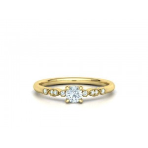 Μονόπετρο δαχτυλίδι κίτρινο χρυσό Κ18  vintage με διαμάντι 0.22ct και πέτρες στο πλάι