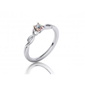 Μονόπετρο δαχτυλίδι δίχρωμο λευκόχρυσο με ροζ χρυσό καστόνι Κ18 διαμάντι μπριγιάν 0.10ct άπειρο