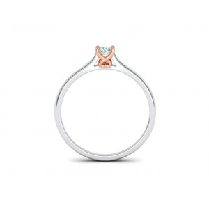 Μονόπετρo δαχτυλίδι δίχρωμο λευκόχρυσο με ροζ χρυσό καστόνι Κ18 με διαμάντι μπριγιάν 0.09ct με καρδιά