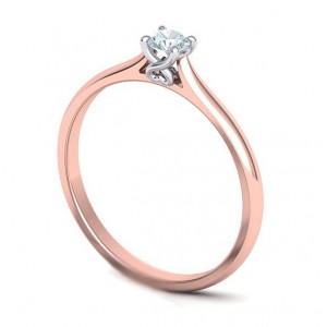 Μονόπετρo δαχτυλίδι δίχρωμο ροζ χρυσό με  λευκόχρυσο καστόνι Κ18 με διαμάντι μπριγιάν 0.09ct με καρδιά