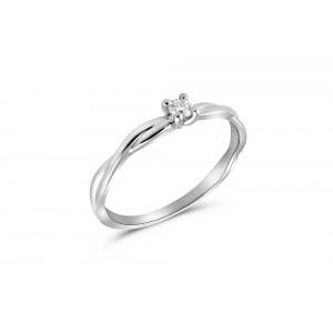 Μονόπετρο δαχτυλίδι άπειρο από λευκόχρυσο Κ18 με διαμάντι μπριγιάν 0.07ct