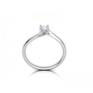Mονόπετρο δαχτυλίδι φλόγα με καρδιά από λευκόχρυσο Κ18 με διαμάντι μπριγιάν 0,18ct