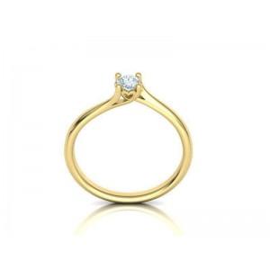 Mονόπετρο δαχτυλίδι φλόγα με καρδιά από κίτρινο χρυσό Κ18 με διαμάντι μπριγιάν 0,18ct