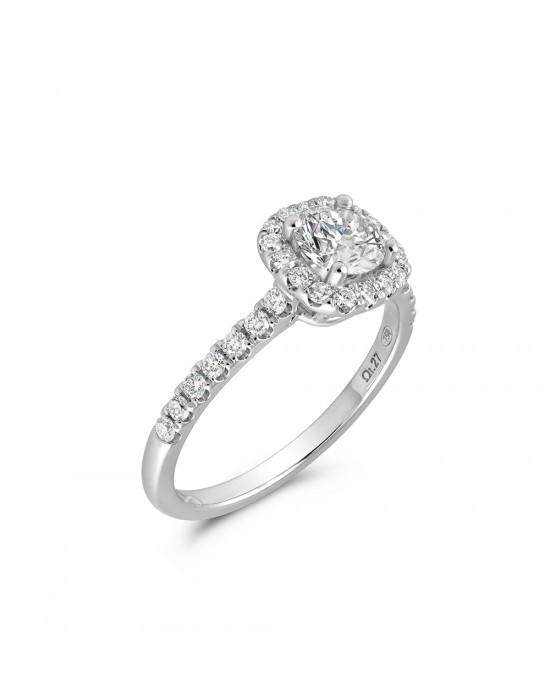 Μονόπετρο δαχτυλίδι halo λευκόχρυσο Κ18 με κεντρικό διαμάντι 0.45ct πιστοποιημένο από το GIA