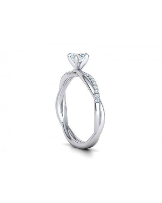 Μονόπετρο δαχτυλίδι άπειρο - πλεξούδα λευκόχρυσο Κ18 με διαμάντι μπριγιάν 0.20ct και πέτρες στο πλάι