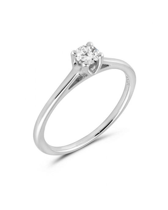 Μονόπετρο δαχτυλίδι από λευκόχρυσο Κ18 με διαμάντι μπριγιάν 0.19ct