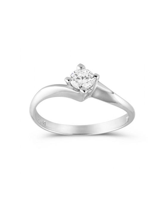 Mονόπετρο δαχτυλίδι φλόγα από λευκόχρυσο Κ18 με διαμάντι μπριγιάν 0,18ct