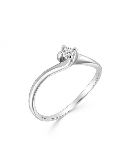 Mονόπετρο δαχτυλίδι φλόγα από λευκόχρυσο Κ18 με διαμάντι μπριγιάν 0,09ct