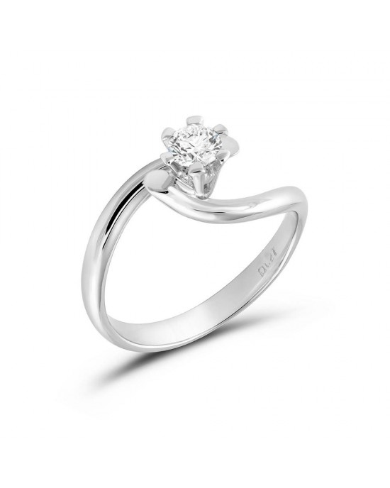 Μονόπετρο δαχτυλίδι φλόγα από λευκόχρυσο Κ18 με διαμάντι μπριγιάν 0.21ct με πιστοποίηση GIA