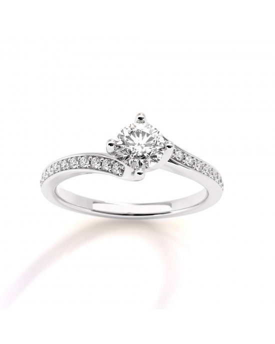 Mονόπετρο δαχτυλίδι φλόγα από λευκόχρυσο Κ18 με διαμάντι μπριγιάν 0.30ct και πέτρες στο πλάι GIA