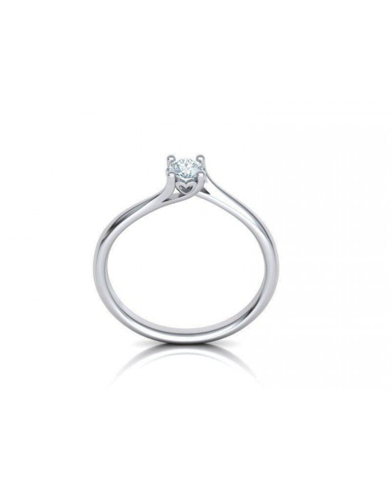 Mονόπετρο δαχτυλίδι φλόγα με καρδιά από λευκόχρυσο Κ18 με διαμάντι μπριγιάν 0,18ct και πιστοποίηση GIA