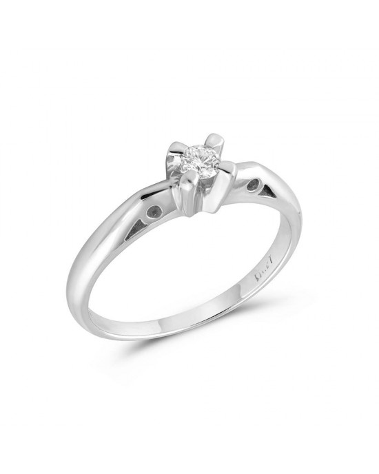 Vintage Μονόπετρο δαχτυλίδι από λευκόχρυσο Κ18 με διαμάντι 0.10ct