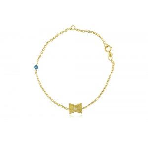 Βραχιόλι από χρυσό Κ14 με διαμάντι και ματάκι
