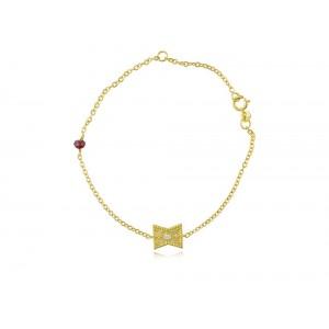 Βραχιόλι από χρυσό Κ14 με διαμάντι και ρουμπίνι