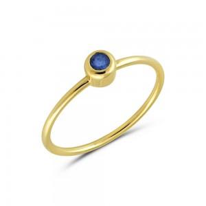 Μονόπετρο δαχτυλίδι από Χρυσό Κ14 με ζαφείρι 0,20ct