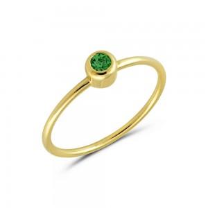 Μονόπετρο δαχτυλίδι από Χρυσό Κ14 με σμαράγδι 0,20ct