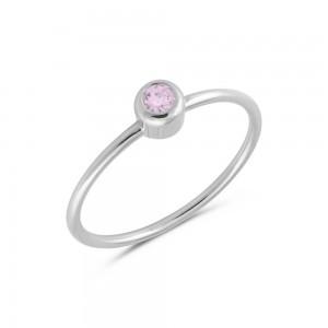Μονόπετρο δαχτυλίδι από Λευκό Χρυσό Κ14 με ροζ ζαφείρι 0,18ct