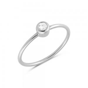 Μονόπετρο δαχτυλίδι από Λευκό Χρυσό Κ14 με διαμάντι 0,06ct