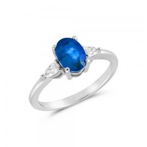 Δαχτυλίδι από Λευκό Χρυσό Κ18 με μπλε ζαφείρι 0,85ct και διαμάντια 0,16ct