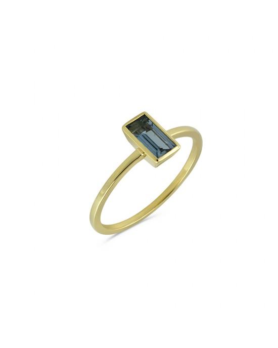 Μονόπετρο δαχτυλίδι με ακουαμαρίνα από χρυσό Κ14