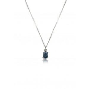 Κολιέ από Λευκό Χρυσό Κ18 με μπλε ζαφείρι 0.27ct και διαμάντι 0.01ct