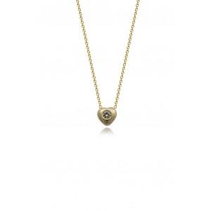 Κολιέ καρδιά από Χρυσό Κ14 με διαμάντι 0.04ct
