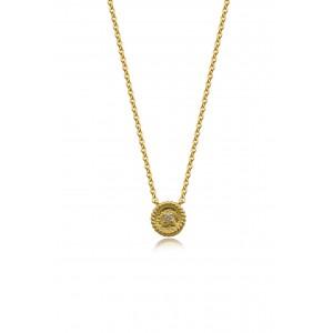 Βυζαντινό κολιέ κύκλος από Χρυσό Κ18 με διαμάντι 0.015ct