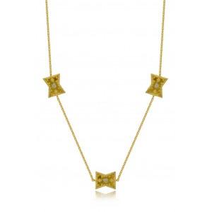 Βυζαντινό κολιέ σταγόνες από Χρυσό Κ18 με διαμάντια 0.045ct