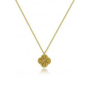 Βυζαντινό κολιέ σταυρουδάκι από Χρυσό Κ18 με διαμάντι 0.015ct