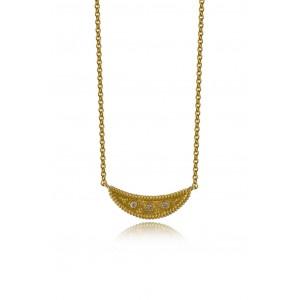 Βυζαντινό κολιέ μισοφέγγαρο από Χρυσό Κ18 με διαμάντια 0.05ct