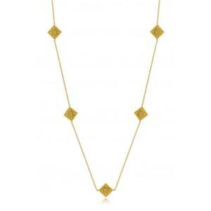 Βυζαντινό κολιέ ρόμβοι από Χρυσό Κ18 με διαμάντια 0.08ct