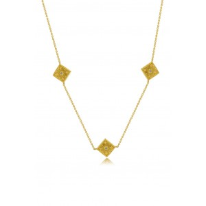 Βυζαντινό κολιέ ρόμβοι από Χρυσό Κ18 με διαμάντια 0.045ct