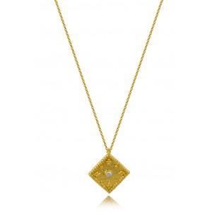 Βυζαντινό κολιέ ρόμβος από Χρυσό Κ18 με διαμάντι 0.015ct