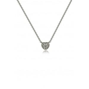 Κολιέ από Λευκό Χρυσό Κ18 με διαμάντια 0,07ct