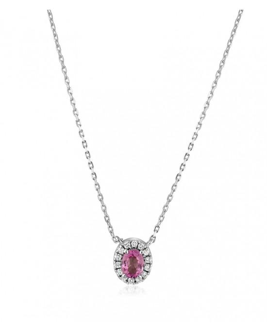 Κολιέ ροζέτα από Λευκό Χρυσό Κ18 με ροζ Ζαφείρι 0.55ct & διαμάντια 0.10ct
