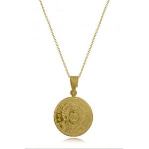 Μενταγιόν Κωνσταντινάτο στρογγυλό από Χρυσό Κ14