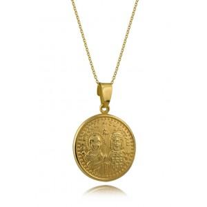 Μενταγιόν Κωνσταντινάτο στρογγυλό από Χρυσό Κ14 δύο όψεων