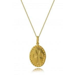 Μενταγιόν Κωνσταντινάτο όβαλ από Χρυσό Κ14 δύο όψεων
