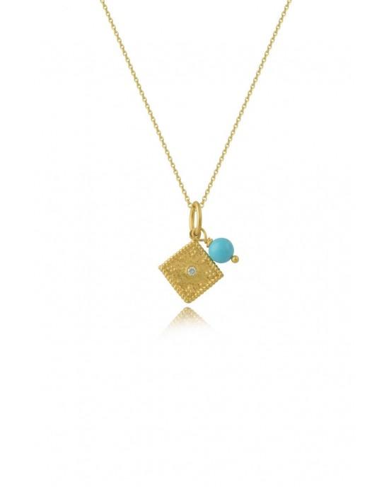 Βυζαντινό μενταγιόν ρόμβος από χρυσό Κ14 με διαμάντι και αλυσίδα