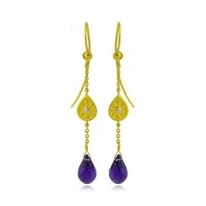"""Βυζαντινά σκουλαρίκια """"Σταγόνα"""" από Χρυσό Κ18 με διαμάντια 0.03ct και αμέθυστο 7.00ct"""